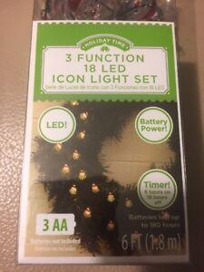 NEW - 18 PK Santa LED - Slim Wire Light Set 6 FT - Timer - 3 Function - Santa