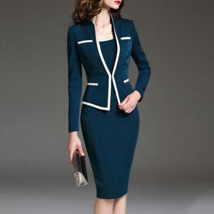 Women Slim Fit OL Long Sleeve High Waist Lapel Collar Blazer Suit Coat Skirt DD