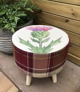 """COUNTRY FOOTSTOOL! """"THISTLE"""" WITH COORDINATING RUBY CHECK"""