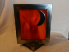 Hand Made Red Colored Glass in Metal Frame with Half Moon Freestanding Piece