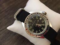 Komandirskie Wostok Black Men's Military Wristwatch Soviet 2414 USSR Watch