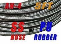 """-4 AN 4 AN4 1/4"""" Braided Stainless Steel Fuel Oil Gas Line Hose Price for 5 foot"""