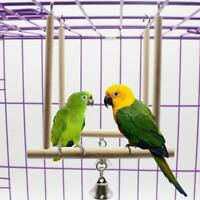 Parrot Birds Natural Wooden Perch Play Toy Stand Holder Swing Bell Accessories