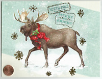 Cute Moose Snowflakes Holly *GOLD SHINE* - Linen Christmas Greeting Card  UNUSED