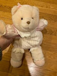 "1990s Eden Teddy Bear 12"" Plush Pink Tan Stripe Striped Pajamas Vintage Baby"