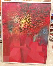 tres rare géant tableau HST art abstrait signé s mota gota daté juin73 haut 1m22