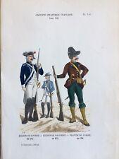 Gravure XIXe uniformes soldats Légion De Soubise De Dauphiné Et Corse 18e PL146
