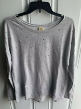 Faded Glory Gray Sequin Pullover Sweatshirt Size Large