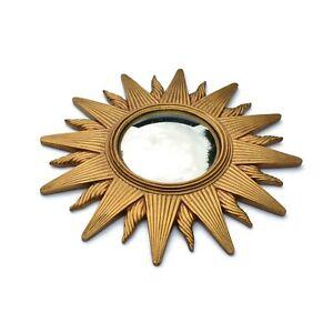 Vintage Sun Convex Mirror Gold Celestial Astrology Boho Home Decor Korea 1993