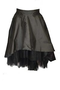 Dark Star Skirt Black With Side Zip. Polysilk And Net Material. Size 16