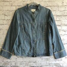 J Jill Out of the Blue Denim Jean Hidden Buttons Down Long Sleeve Jacket Size M