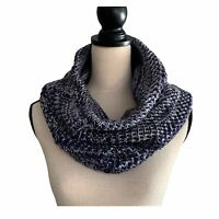 Navy Blue and White Knit Infinity Winter Scarf