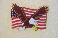 US USA Flag & Eagle Patriotic Hat Lapel Pin
