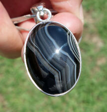 Shiny SARDONYX AGATE Crystal Pendant in Professional Heavy .950 Sterling Silver