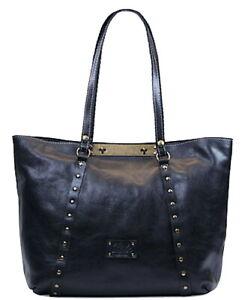 NWT Patricia Nash Veg Tan Leather Large Handbag Studded BENVENUTO Bag Navy