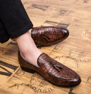 Mens Alligator Print Shoes Tassels Dress Formal Loafers Nightclub Faux Leather