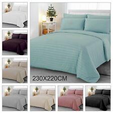 2.3*2.2m Satin Stripe Duvet Cover with Pillowcase Quilt Bedding Set King Size