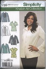 Simplicity Sewing Pattern 3789 Khaliah Ali Misses' Tops B C D Cups Sizes 6 - 14