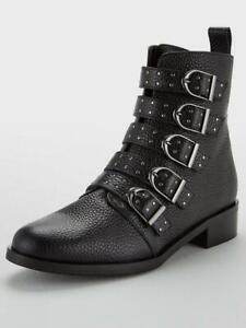 Karen Millen Womens Bronte Alice Leather Ankle Boots Black