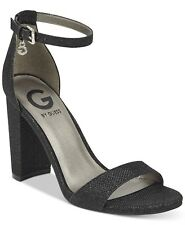 556bd75a62b G by Guess Women s Shantel Black Texture Ankle Strap Pump Heel Shoes Size  8.5 M