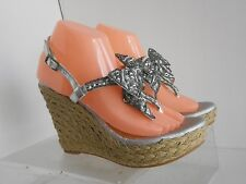 Naughty Monkey NMW1338 Silver Women Free Sequin Bow Wedge Size 9 M