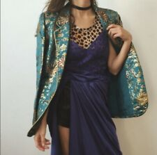 Vintage Neiman Marcus Teal Gold Jacquard Blazer Sz 14