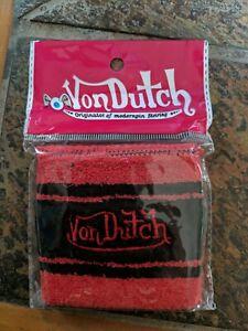 NEW Von Dutch Sweatband / Wristband Authentic Red & Black - 1 Per Pack