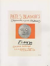 """1989 VINTAGE  """"PATES BLANCHES"""" LYONS WHITES PICASSO Color offset Lithograph"""