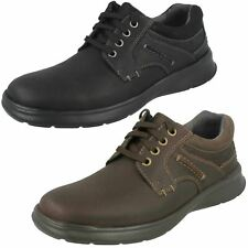 Mens Clarks 'Cotrell Plain' Black Or Brown Oily Leather Casual Lace Up Shoes