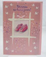 Carte Félicitations Naissance.Fille. Rose.chaussures rose.17 cm x 12 cm.