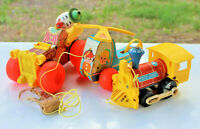 Lot/3 Vintage Antique TOYS FISHER-PRICE PULL TOYS JALOPY,MINI COPTER & TOOT TOOT