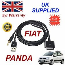 FIAT PANDA PER APPLE 3GS 4 4S IPHONE IPOD USB AUX 3,5 mm Cavo Audio Nero