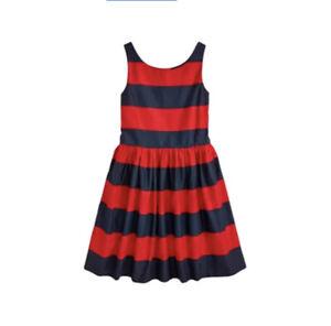 Polo Ralph Lauren Girls Sleeveless Striped Fit & Flare Dress Red Navy Sz 14 0901