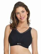 Royce Maximum Support Impact Free Soft Cup Sports Bra Cotton Black New D-FF Cup