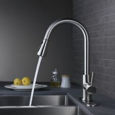 Brushed Nickel Kitchen Faucet Single Handle Pull Down Spray Mixer Tap W/ Cover