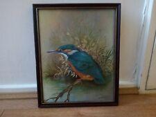 Vintage Art Bird Kingfisher By P. Sturgeon  1977 Wall Hang