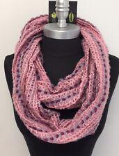 Women Winter knitted Crochet 2-Circle Cowl Infinity Scarf Wrap Pink/Gray/purple