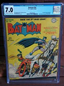 BATMAN #24 (1944) CGC 7.0 1st Appearance of Professor Carter Nichols, Year 1944