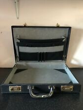 Vintage Black Leather 1980s Theatre Prop Handle Lock Dynasty Costume Briefcase