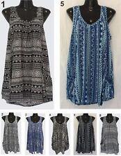 LADIES casual sleeveless dress top pockets OSFA Size 16 18 20 22 cover up Kaftan