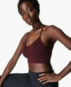 BNWT Sweaty Betty Mindful Yoga Bra RRP £45 Black Cherry Purple Medium