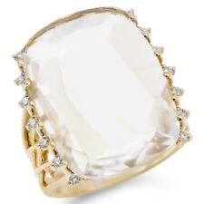 FINE NATURAL 14K YELLOW GOLD DIAMOND & WHITE TOPAZ COCKTAIL ENGAGEMENT RING