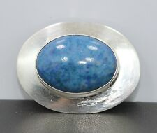Navajo Style Sterling Silver Oval Pin/Brooch with Cabochon Blue Lapis Signed R