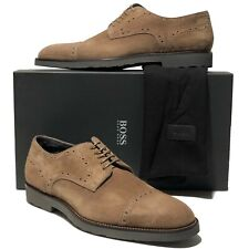 Hugo Boss ITALY Tokemi Brown Suede Leather Oxford Men's Dress Shoes Casual Beige