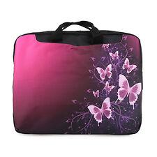 "TaylorHe 15.6"" DEFECT Laptop Shoulder Bag With Handles Strap Pink Butterflies"