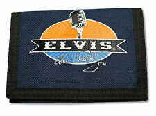 Elvis Presley Microphone Navy Blue Canvas Tri Fold Wallet New Official