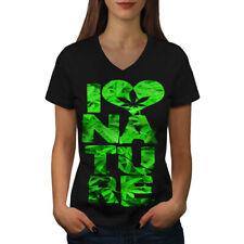 Wellcoda Love Nature Weed Rasta Womens V-Neck T-shirt, Chill Graphic Design Tee