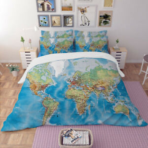 World Map Doona/Quilt/Duvet Cover Set Queen King Single Size Bed Fitted Sheet
