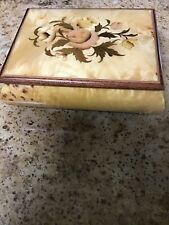 Burl Wood Floral Inlaid Music Box Plays Dr Zhivago Made In Italy 6 1/2�X 4 1/2�