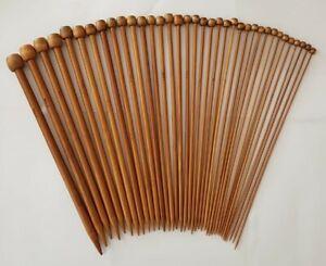 36PCS/Set 18 Sizes Bamboo Knitting Needles Carbonized 2mm - 10mm/Crochet Hooks